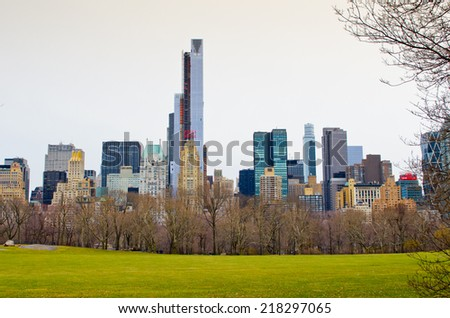 NEW YORK, USA - MARCH 26: Skyscrapers of Manhattan. Manhattan historical kernel of the city of New York and one of its five pine forests on March 26, 2014 in New York, USA - stock photo