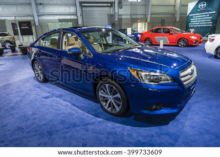 NEW YORK, USA - MARCH 24, 2016: Subaru Legacy on display during the New York International Auto Show at the Jacob Javits Center.