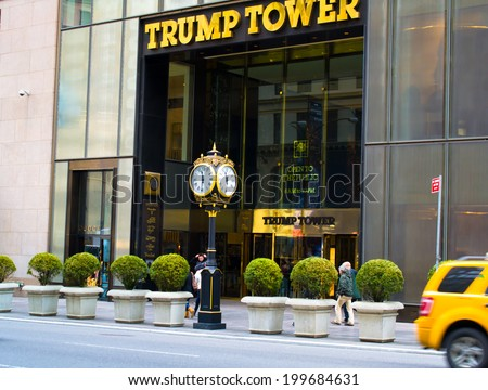 NEW YORK, USA - MARCH 26: Trump Tower is a 58-story mixed-use skyscraper located in Midtown Manhattan. Originally the tallest all-glass structure in Manhattan on March 26, 2014 in New York, USA - stock photo