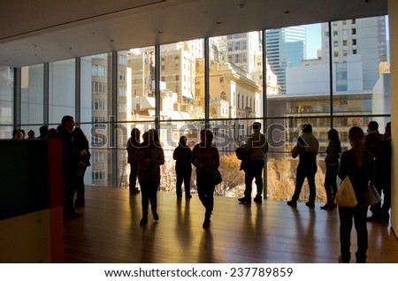 NEW YORK, USA - MARCH 26: Unknown people in the Museum of Modern Art on March 26, 2014 in New York, USA