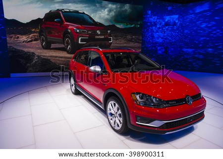 NEW YORK, USA - MARCH 23, 2016: Volkswagen Alltrack on display during the New York International Auto Show at the Jacob Javits Center.