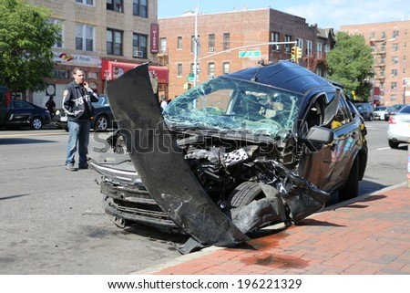 NEW YORK, USA -May 31, 2014: Car accident in urban street on May 31, 2014 in New York, USA.
