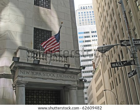 NEW YORK, USA - MAY 05: Located at 11 Wall Street, New York City, USA. It is the world's largest stock exchange by market capitalization of its listed companies at US$11.92 trillion as of Aug 2010. - stock photo