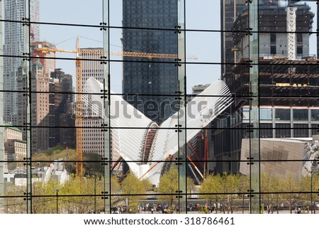 NEW YORK, USA - May 04, 2015: Manhattan modern architecture. Manhattan is the most densely populated of the five boroughs of New York City - stock photo