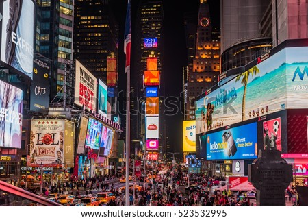 New York, USA - November 17, 2016 :Billboards in Times Square. Times Square is a famous intersection in New York City.