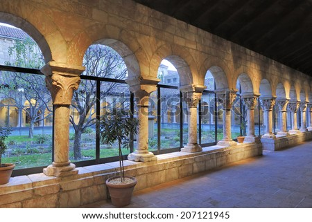 NEW YORK, USA - NOVEMBER 11: Colonnade and garden at The Cloisters, the branch of The Metropolitan Museum of Art devoted to the art and architecture of medieval Europe, November 11, 2012, New York,USA - stock photo