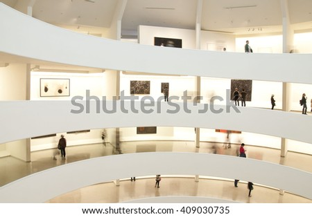 NEW YORK, USA - NOVEMBER 2015: The Solomon R. Guggenheim Museum is one of the most important museums in the world in the field of modern and contemporary art, New York USA on November 7, 2015.
