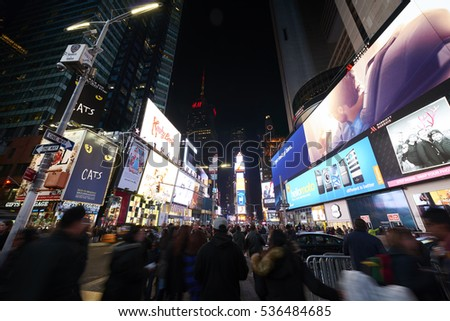 NEW YORK, USA - November 17, 2016.  Times Square  at Night and LED Advertising Lighting up the Place in Manhattan, New York
