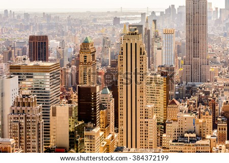 NEW YORK, USA - OCT 6, 2015: Aerial view over Manhattan from the Rockfeller Center (Top of the Rock). One of the popular observation points of New York - stock photo