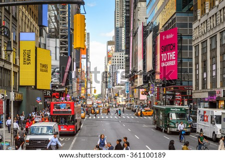 NEW YORK, USA - OCT 7, 2015: Architecture and traffic of Times Square, a major commercial neighborhood in Midtown Manhattan, New York City
