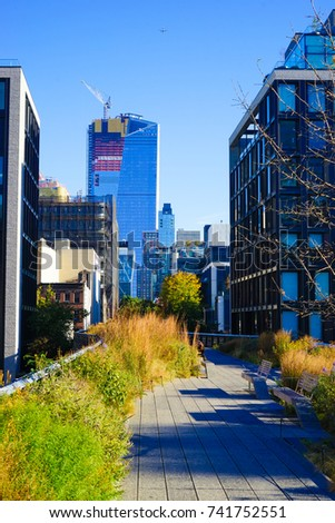 New York, USA - 17 Oct 2017. High Line Park in Fall