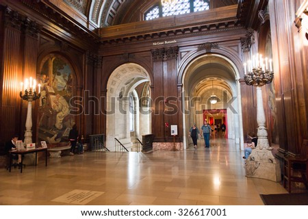 NEW YORK, USA - OCT 8, 2015: Interior of the Public library on the 5th avenue,  Bryant Park, Manhattan, New York. The library was established in 1895