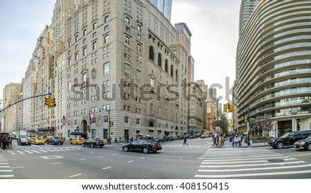 NEW YORK, USA - OCT 21, 2015: streetview in New York seen from Cental Park, New York. The buildings are from 19th century.