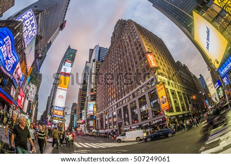 NEW YORK, USA - OCT 21, 2015: Times Square, featured with Broadway Theaters and huge number of LED signs, is a symbol of New York City and the United States.