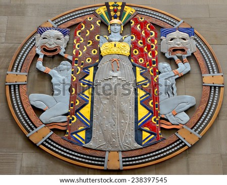 NEW YORK USA OCTOBER 27: Art deco medallion graces by Hildreth Meiere the West 50th Street facade of Radio City Music Hall  on October 27, 2013 in New York - stock photo