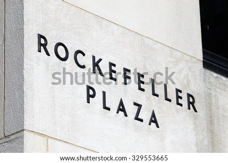 NEW YORK, USA-OCTOBER, 2015:  Sign on the side of the landmark building.  Rockefeller Center was built by the Rockefeller family during the Great Depression. - stock photo