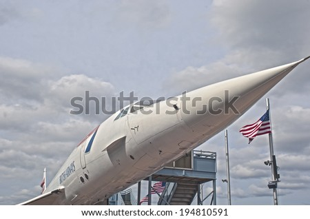 New York,USA - October 9: Supersonic Passenger Airplane Concorde on Display as a Tourist Attraction in intrepid Museum in Manhattan, New York City, in October, 9, 2013, United States - stock photo