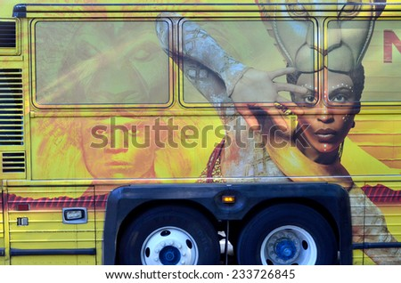 NEW YORK USA OCTOBER 27: The Lion King sign on bus on ocotber 27, 2013 in New York USA. With more than 5,350 performances, The Lion King is now Broadway's seventh longest-running show in history.  - stock photo