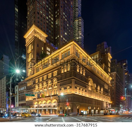 New York, USA on 5th Sept 2015: Carnegie Hall is a concert venue in Midtown Manhattan in New York City, Designed by architect William Burnet Tuthill and built by philanthropist Andrew Carnegie in 1891 - stock photo