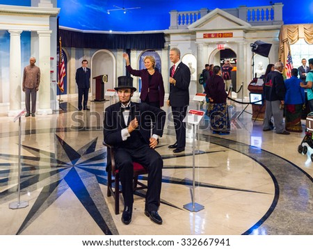 NEW YORK, USA - SEP 22, 2015: Abraham Lincoln in Madame Tussaud  wax museum, TImes Square, New York City. Marie Tussaud was born as Marie Grosholtz in 1761 - stock photo