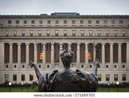 NEW YORK, USA - Sep 26, 2015: Alma Mater. New York City's Columbia University, an Ivy League school. - stock photo