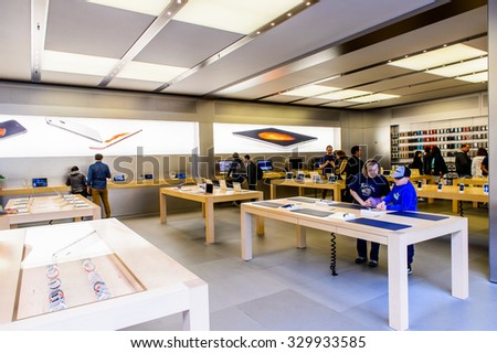 NEW YORK, USA - SEP 22, 2015: Apple store on the Fifth Avenue, New York. The store sells Macintosh personal computers, software, iPod, iPad, iPhone, Apple Watch, Apple TV - stock photo