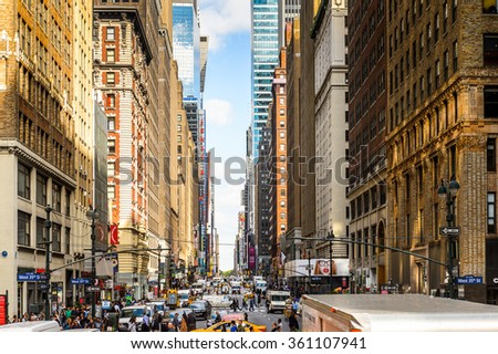 NEW YORK, USA - SEP 25, 2015: Architecture and traffic of Manhattan, New York City, USA. New York is the most populous city in the United States