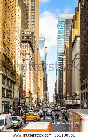 NEW YORK, USA - SEP 25, 2015: Architecture and traffic of Manhattan, New York City, USA. New York is the most populous city in the United States - stock photo