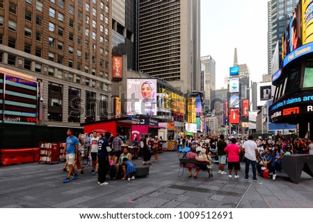 NEW YORK, USA - SEP 16, 2017: Commercial screens, Manhattan, New York City, United States of America