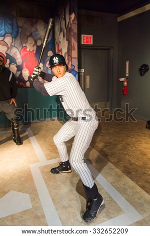 NEW YORK, USA - SEP 22, 2015: David Wright in Madame Tussaud  wax museum, TImes Square, New York City. Marie Tussaud was born as Marie Grosholtz in 1761