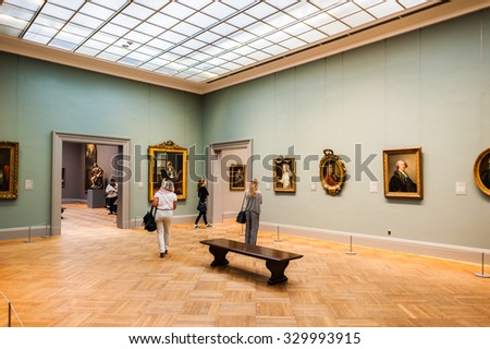 NEW YORK, USA - SEP 25, 2015: European painter's picture gallery in the Metropolitan Museum of Art (the Met), the largest art museum in the United States of America - stock photo