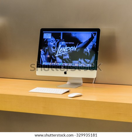 NEW YORK, USA - SEP 22, 2015: iMac at the Apple store on the Fifth Avenue, New York. The store sells Macintosh personal computers, software, iPod, iPad, iPhone, Apple Watch, Apple TV - stock photo