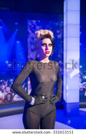 NEW YORK, USA - SEP 22, 2015: Lady Gaga in Madame Tussaud  wax museum, TImes Square, New York City. Marie Tussaud was born as Marie Grosholtz in 1761 - stock photo