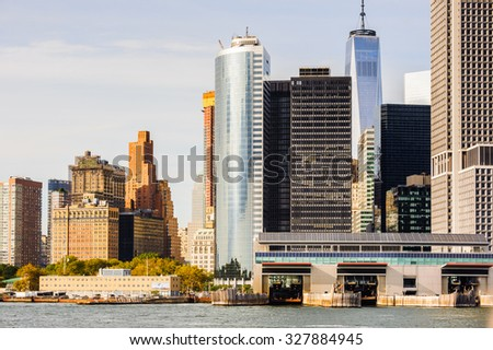 NEW YORK, USA - SEP 25, 2015: Lower Manhattan, New York City, USA. New York is the most populous city in the United States of America