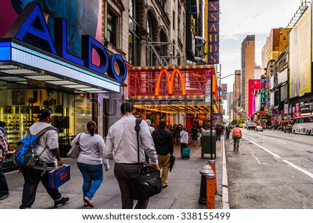 NEW YORK, USA - SEP 22, 2015: McDonalds restaurant at the 42nd street (Manhattan), major crosstown street in the New York City borough of Manhattan, known for its theaters