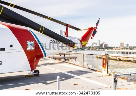 NEW YORK, USA - SEP 25, 2015: Militar Helicopter on USS Intrepid (The Fighting I), one of 24 Essex-class aircraft carriers built during World War II for the United States Navy