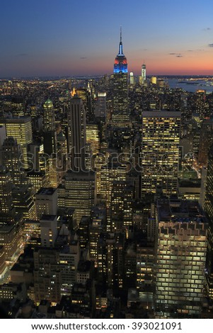 NEW YORK, USA-SEP 25: Night View from Top of The Rock, September 25, 2012