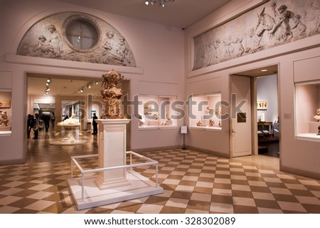 NEW YORK, USA - SEP 25, 2015: Part of the Metropolitan Museum of Art (the Met), the largest art museum in the United States of America