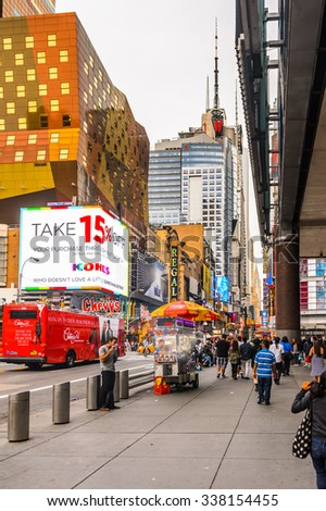 NEW YORK, USA - SEP 22, 2015: Part of the 42nd street (Manhattan), major crosstown street in the New York City borough of Manhattan, known for its theaters