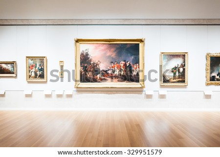 NEW YORK, USA - SEP 25, 2015: Picture gallery in the Metropolitan Museum of Art (the Met), the largest art museum in the United States of America - stock photo