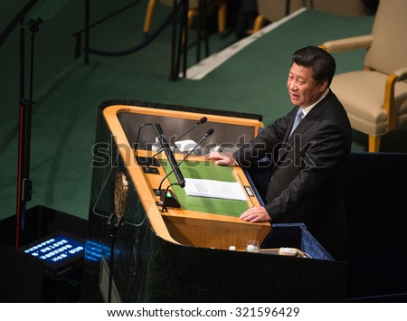 NEW YORK, USA - Sep 28, 2015: President of the People's Republic of China Xi Jinping  speaks at the opening of the 70th session of the General Assembly of the United Nations Organization in New York - stock photo