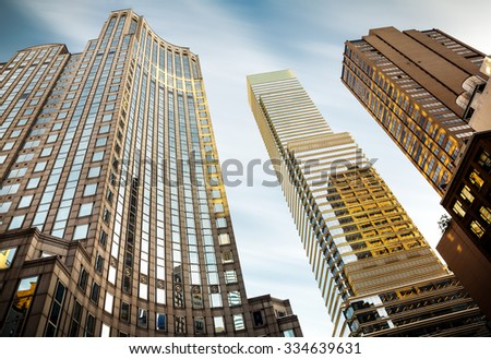 NEW YORK, USA - Sep 27, 2015: Streets of Manhattan. Manhattan is the most densely populated of the five boroughs of New York City
