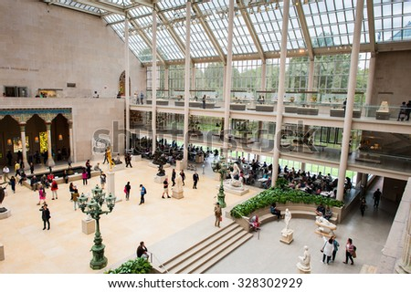 NEW YORK, USA - SEP 25, 2015: The Charles Engelhard Court in the American Wing of Metropolitan Museum of Art , the largest art museum in the United States of America