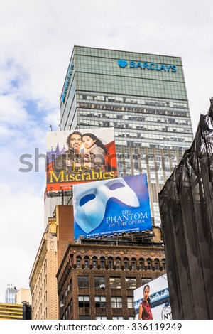 NEW YORK, USA - SEP 22, 2015: Times Square, a major commercial neighborhood in Midtown Manhattan, New York City - stock photo