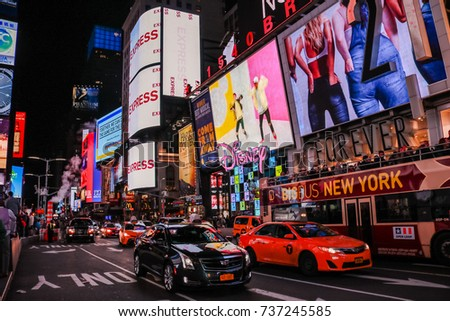NEW YORK, USA - SEP 08, 2017: Times Square at Night