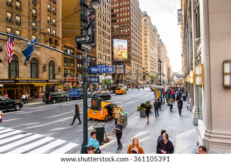NEW YORK, USA - SEP 25, 2015: Traffic of Manhattan, New York City, USA. New York is the most populous city in the United States