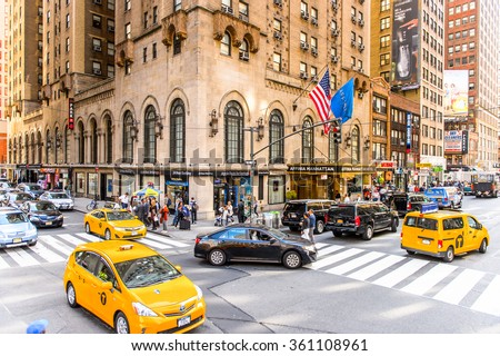 NEW YORK, USA - SEP 25, 2015: Traffic of Manhattan, New York City, USA. New York is the most populous city in the United States - stock photo