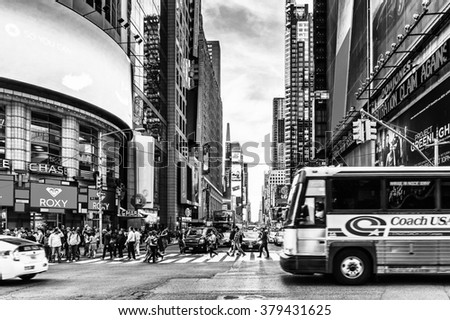 NEW YORK, USA - SEP 22, 2015: Yellow school bus on the Eighth avenue (Manhattan). 8 avenue begins in the West Village neighborhood at Abingdon Square of the Tenth Avenue (Amsterdam Avenue)(Manhattan).