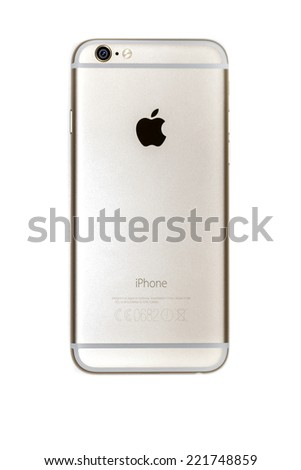 New York, USA - September 29, 2014: Backside of a gold colored iPhone 6 smart phone  isolated on white background. Apple's newest iPhones, the 6 and the 6 Plus released on on September 19, 2014 - stock photo