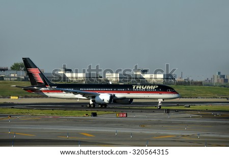New York, USA - September 17, 2015: Boeing 757 jet airplane bearing the logo of Donald Trump takes off from laguardia, New York City - stock photo